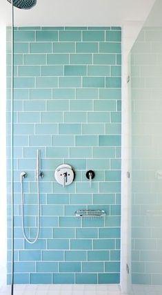 Aqua glass subway tile - bath wall and surround for kids bathroom, run vertically.