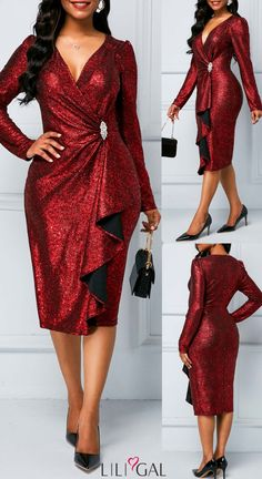 Zipper Back Long Sleeve Sequin Dress Extraordinary wine red sequin party dress! Shop Liligal for affordable finds and all the latest trends. Elegant Dresses Classy, Classy Gowns, Classy Dress, Trendy Dresses, Sexy Dresses, Evening Dresses, Casual Dresses, Dance Dresses, Club Dresses