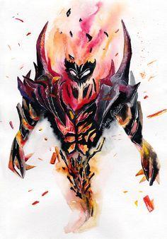 Shadow Fiend, watercolor by SanjaDotaArt on DeviantArt Dota Tattoo, Game Character, Character Design, Dota 2 Wallpapers Hd, Dota 2 Game, Tattoo Sketches, Fantasy Art, Art Drawings, Anime Art