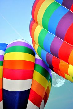 Rainbow Hot Air Balloons☁ #Rainbows #Color #Colors