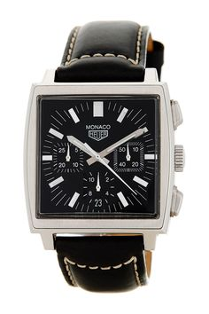 Vintage Monaco Unisex Tag Heuer Leather Strap Watch by Tag Heuer on @HauteLook