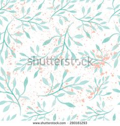 Hand-drawn watercolor pattern with branches. Cute and delicate seamless texture
