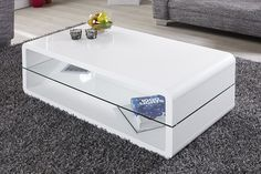 Table basse design blanc laque Jazz  120x60