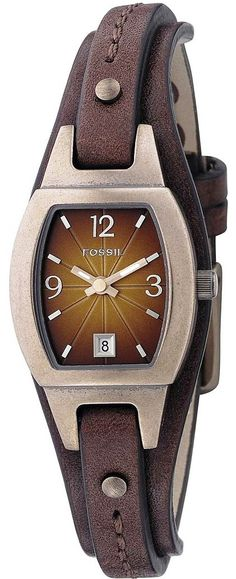 Fossil Watch , Fossil Women's JR9760 Skinny Brown Leather Strap Brown Analog Dial Watch