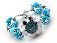 Teallie Blue Flower Bracelet Wrist Watch  by OohlalaBeadtique, $22.00