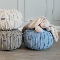 Small Blue Knitted Floor Pouffe Pouf Ottoman Knit Nursery