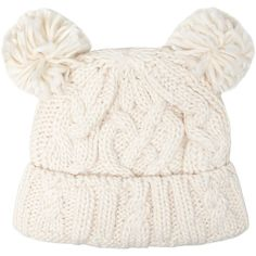 Dorothy Perkins Cream pom pom knitted hat (£8.73) ❤ liked on Polyvore featuring accessories, hats, beanies, gorros, cream, cream hat, cream beanie, pom beanie, cable knit hat and cable knit pom pom beanie