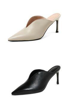 9a90a0e7ca06 Cow Leather High Heels Women Slipper Pointed Toe Thin Heels Buckle Footwear