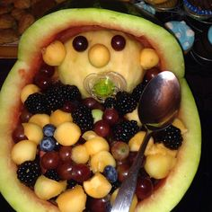 Baby shower fruit salad. I've never been a big fan of fruit salad - but this just creeps me out.  Example of what not to do... :)