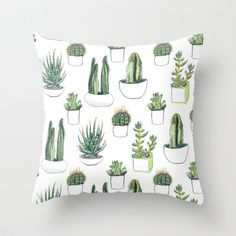 watercolour cacti and succulent Throw Pillow by crumpetsandcrabsticks