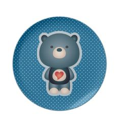 Cute Bear Blue Dinner Plate $26.45