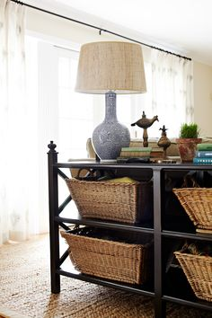 storage console behind the sofa // living room // Pure Style Home