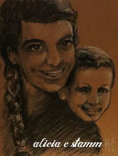 Me and my nephew -- charcoal drawing on cardboard -- Alicia C Stamm