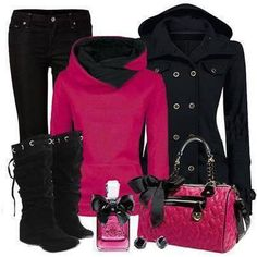 Black and pink casual look Polyvore Outfits, Komplette Outfits, Classy Outfits, Pretty Outfits, Beautiful Outfits, Casual Outfits, Fashion Outfits, Womens Fashion, Black Outfits