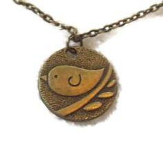 Bronze Bird Medallion Necklace by TaylorsArtsAndCrafts on Etsy