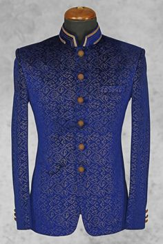 Royal #blue pleasing #velvet suit with bandhgala collar-ST508