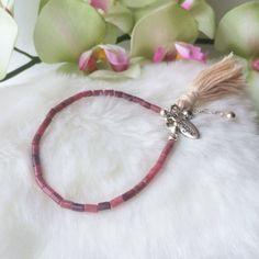 Pink Brown Rhodonite Gemstone Tube Bead by MickeyandChicken #etsy