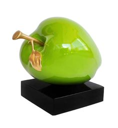 Green Apple with Gold Leaf Table Art/Floor Sculpture