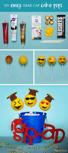 Celebrate your grad's sweet success with DIY cake pops! First, place a pre-made doughnut hole on one end of a lollipop stick. Next, dip the end with the doughnut hole into melted candy until it's full (Baking Tools Drawing)