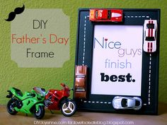 DIY Father's Day Frame: Could be made for kids transportation theme bedroom