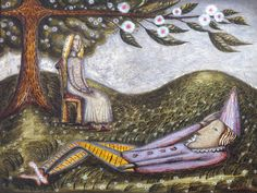The Sleeping Fool by Cecil Collins - one of my favourite painters. A few years ago this was on display in the ST Ives Tate Gallery and I was lucky enough to see it there.