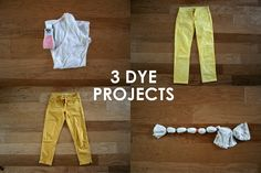 Three experimental dying projects: tie dye and dyed jeans