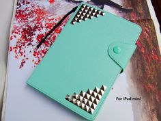 iPad mini case,Protective Magnetic Flip KICKSTAND Stand case iPad mini Studded case,deluxe Leather case Accessory iPad mini skin cover Mint