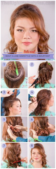 A-line hairstyle with a bouffant for round faces tutorial