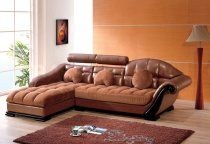 Leather and Micro Suede in Two Tone Brown Sectional Sofa - Ameri