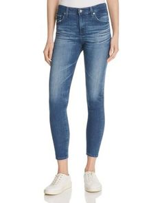 A waist-defining high-rise and a cropped at the ankle length give these love-worn skinny jeans from Ag a fresh look for summer (and beyond).   Viscose/cotton/polyester/polyurethane   Machine wash   Im