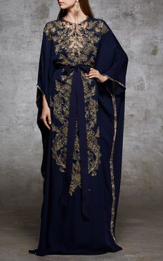 Marchesa Embroidered Crepe Caftan