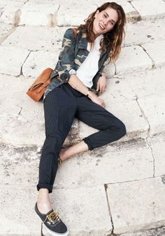 Pinstripe Rivington Trouser Madewell Spring 2014, Erin Wasson on location in Malta #denimmadewell