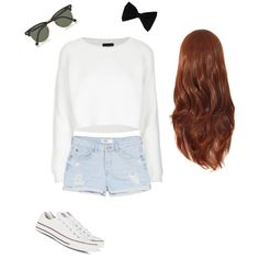 Casual....? by francie831 on Polyvore featuring polyvore, fashion, style, Topshop, MANGO, Converse, Ray-Ban and PINK BOW