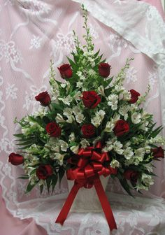 Sympathy Mache in red and white, featuring red roses. Appropriate to be sent by family or friends Casket Flowers, Grave Flowers, Altar Flowers, Cemetery Flowers, Church Flowers, Funeral Floral Arrangements, Tropical Floral Arrangements, Church Flower Arrangements, Floral Centerpieces