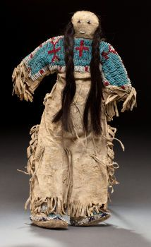 SIOUX BEADED FEMALE DOLL. c. 1890...