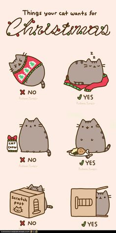 Things your cat wants for christmas. Pusheen just tells you like it is. :)
