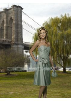 Wedding dress online shop - Taffeta Strapless Sweetheart Neckline with Rouched Bodice in Short A line Skirt 2011 Bow Bridesmaid Dresses BMF21