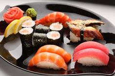 Dishes such as veggies tempura, salmon teriyaki, boats of sushi and sashimi, and green tea ice cream California Rolls, Japanese Drinks, Japanese Sushi, Tempura, Sashimi, Sushi Co, Vietnam, Classic French Dishes, Ideas