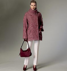 The oversized coat trend continues to be strong into F/W 2015 This new pattern from Vogue Patterns features a wide collar, dropped shoulders, self-lined yoke back with forward shoulder seams, back-belt and stitched hems. Unlined. Sew V9136, Misses' Coat