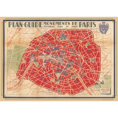 Paris Map Red Cavallini Wrapping Paper.