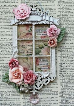 *AUGUST ATC* Pink Roses - Window with roses would be great in a mini-scrapbook. Atc Cards, Card Tags, Pocket Letter, Paper Art, Paper Crafts, Music Paper, Shabby Chic Cards, Window Cards, Marianne Design