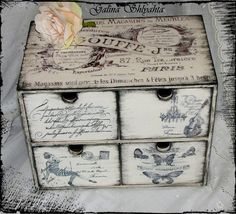 decoupage - photo only for inspiration Decoupage Furniture, Decoupage Box, Decoupage Vintage, Shabby Chic Furniture, Painted Furniture, Vintage Box, Shabby Vintage, Altered Boxes, Altered Art