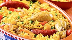 Paella in der topftopf. Slow Cooker Recipes, Crockpot Recipes, Cooking Recipes, My Favorite Food, Favorite Recipes, Chicken Bacon, I Love Food, Pasta Salad, Macaroni And Cheese