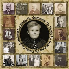 My Family, My Guardians...make a heritage inspired quilt page with a central photo enlargement surrounded by family members.