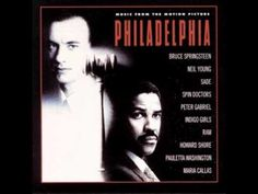 Philadelphia Soundtrack - 1 - Streets of Philadelphia by Bruce Springsteen - Studio Version, the best.  Of course our beloved Bruce won the Oscar for best song this year, 1994.  If ever a song conveyed the feeling of a movie perfectly, this is it.