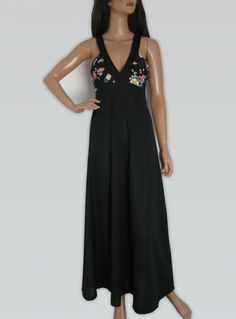 Vintage 1970s Long Black Maxi Dress With Floral Detail available to buy online at Virtual Vintage Clothing £35