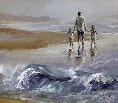 Beautiful painting by Victor Bauer. Family and the ocean, a great combination!