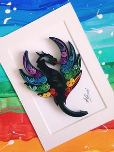 Quilling: Quilling: dragonQuilled Paper Art & Rainbow Dragon & -Unique Gift-Dragon Art-Paper Wall Art-Birthday Gift-Anniversary Gift-Quilling Art-Dragon Lover GiftExcited to share this article from my ety shop: Quilled Paper Arte Quilling, Paper Quilling Cards, Paper Quilling Patterns, Quilling Paper Craft, Paper Crafts, 3d Art, Paper Wall Art, Paper Artwork, Quiling Paper Art