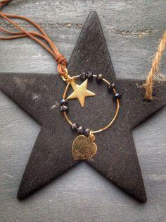 Collar estrella y corazón hilo de seda(Petite Manuela) Face book