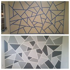 Geometric accent wall Geometric accent wall The post Geometric accent wall & Wandgestaltung ideen appeared first on Geometric paint . Accent Walls In Living Room, Accent Wall Bedroom, Room Wall Painting, Room Paint, Paint Bathroom, Tape Painting, Geometric Wall Paint, Geometric Art, Wall Paint Patterns